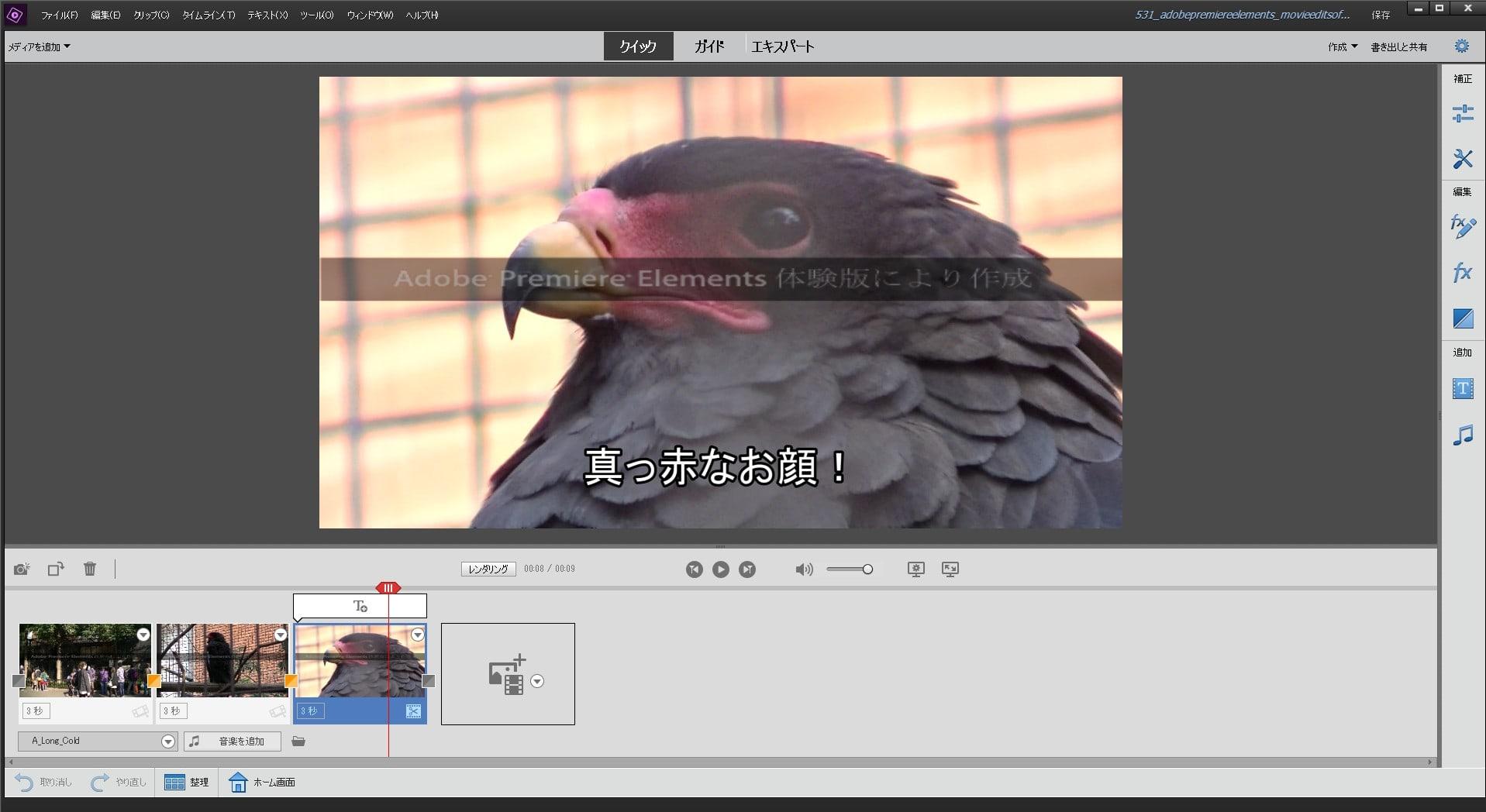 クイック編集機能 Adobe Premiere Elements2019の使い方(1) 機能の紹介 動画編集ソフト アドビプレミアエレメンツ入門