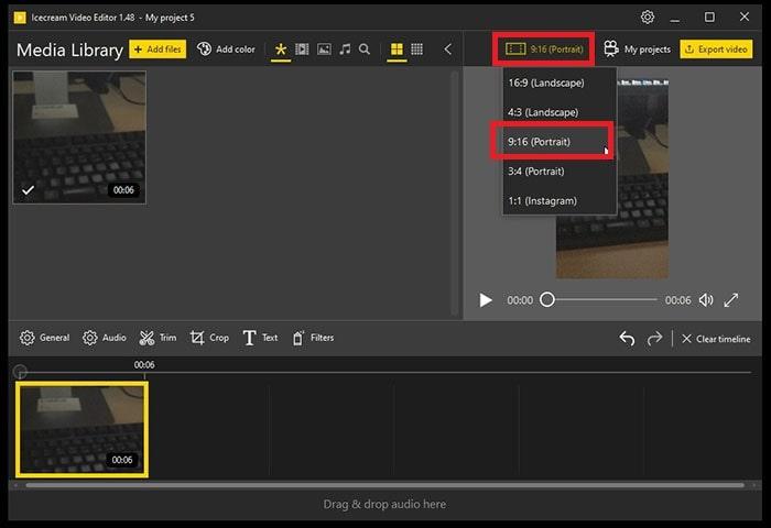 縦動画対応方法 IcecreamVideoEditor