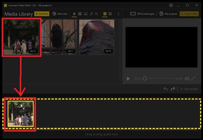 動画ファイルをタイムラインに挿入する方法 IcecreamVideoEditor