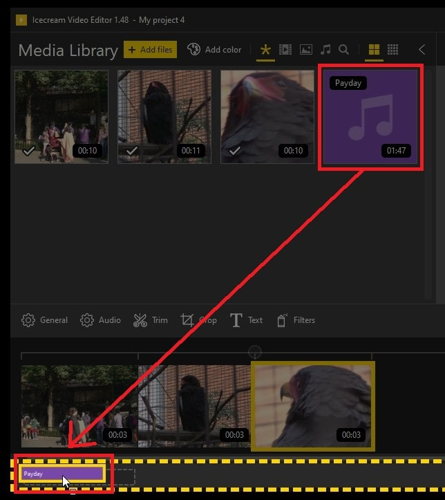 BGM音楽の挿入方法 IcecreamVideoEditor