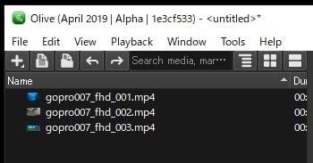 動画ファイルの読み込み方法 Olive動画編集ソフト