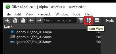 動画ファイルの表示方法の変更方法 Olive動画編集ソフト
