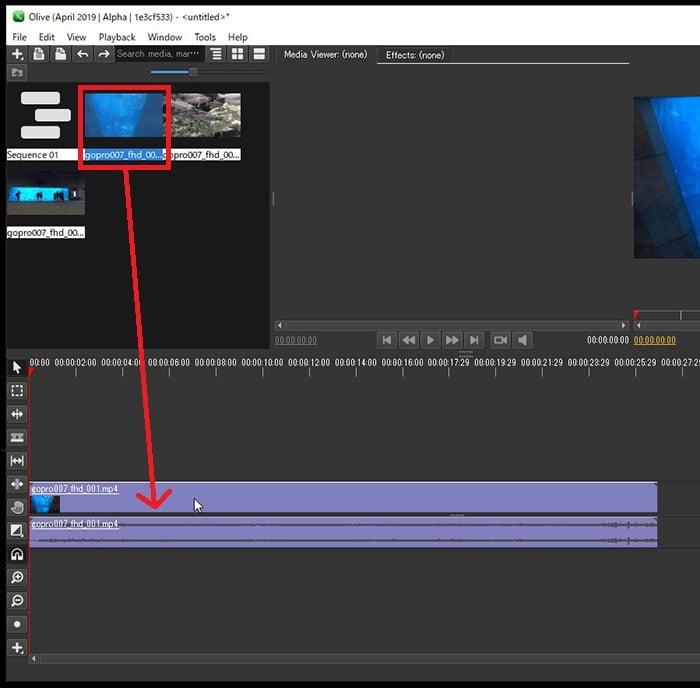 動画ファイルをタイムラインに挿入する方法 Olive動画編集ソフト