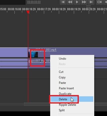 動画ファイルを削除する方法 Olive動画編集ソフト