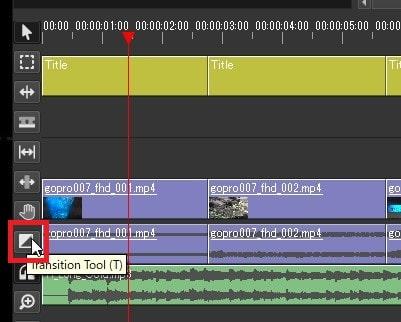 トランジションを挿入する方法 Olive動画編集ソフト