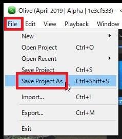 プロジェクトを保存する方法 Olive動画編集ソフト
