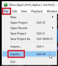 タイムラインを書き出しする方法 Olive動画編集ソフト