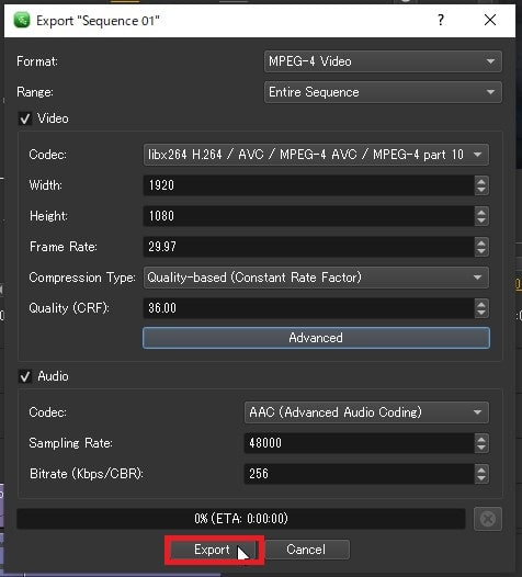 プロジェクトを出力する方法 Olive動画編集ソフト