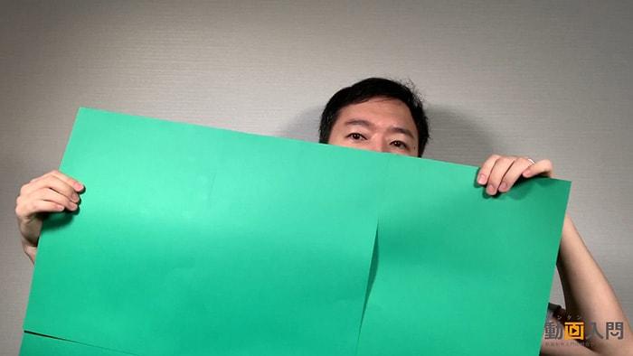 緑の画用紙と養生テープ、照明セット グリーンバックで背景を透過させる方法