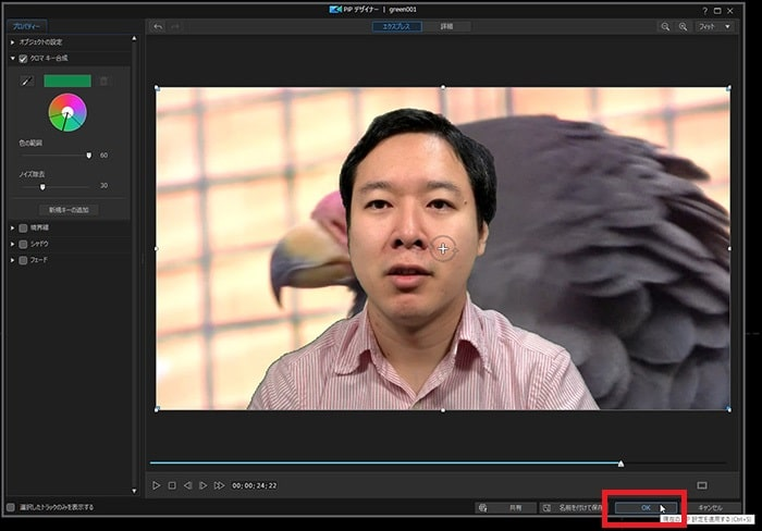 クロマキー設定を微調整する方法 動画編集ソフトPowerDirector