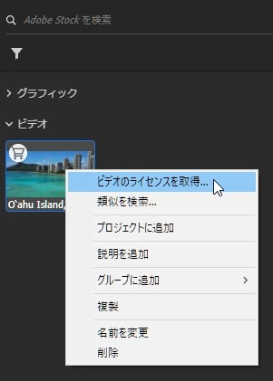 Adobe Stock Premiere Pro内で動画素材を購入